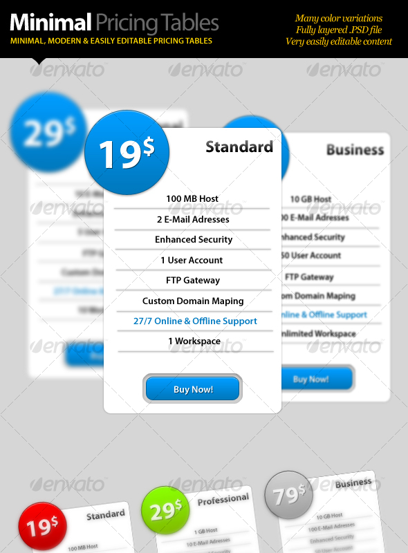 GraphicRiver Minimal Pricing Tables 108853