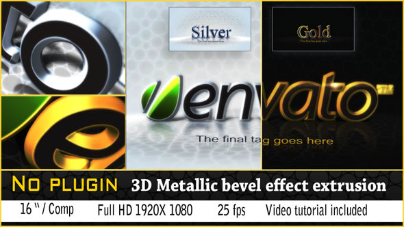 After Effects Project - VideoHive 3D Golden Bevel Logo 3068029