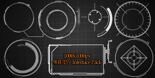VideoHive 9 HUD Interface Pack 3053825