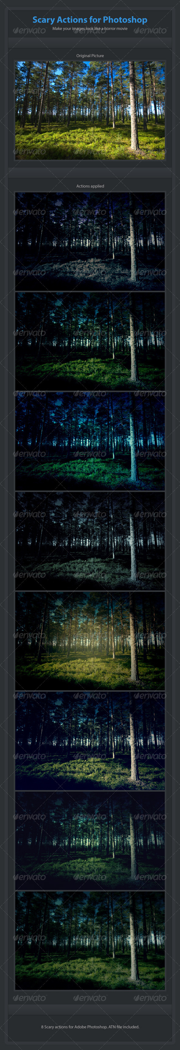 GraphicRiver 8 Scary Actions for Adobe Photoshop 460115