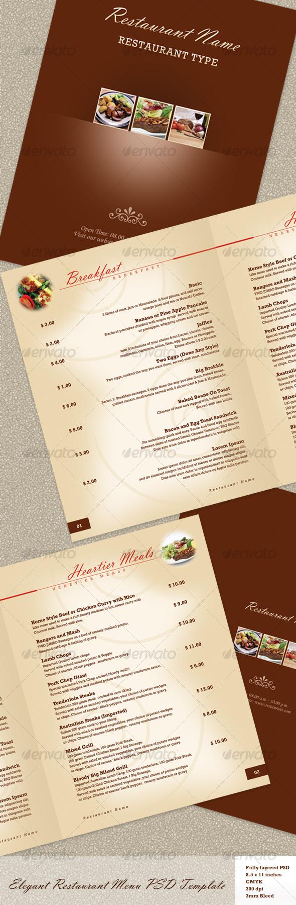 GraphicRiver Elegant Restaurant Menu PSD Template 109109