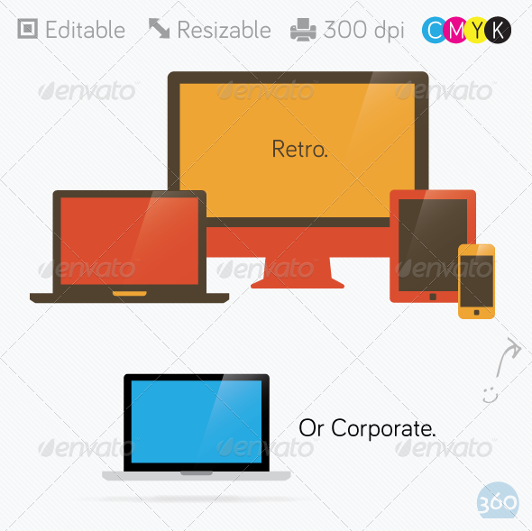 GraphicRiver Retro Computer Laptop Tablet Phone 3079451
