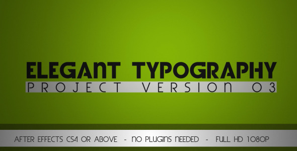 After Effects Project - VideoHive Elegant Typography V3 3068048