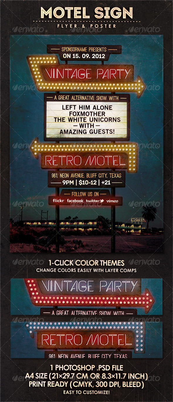 GraphicRiver Motel Sign Flyer & Poster 3080513