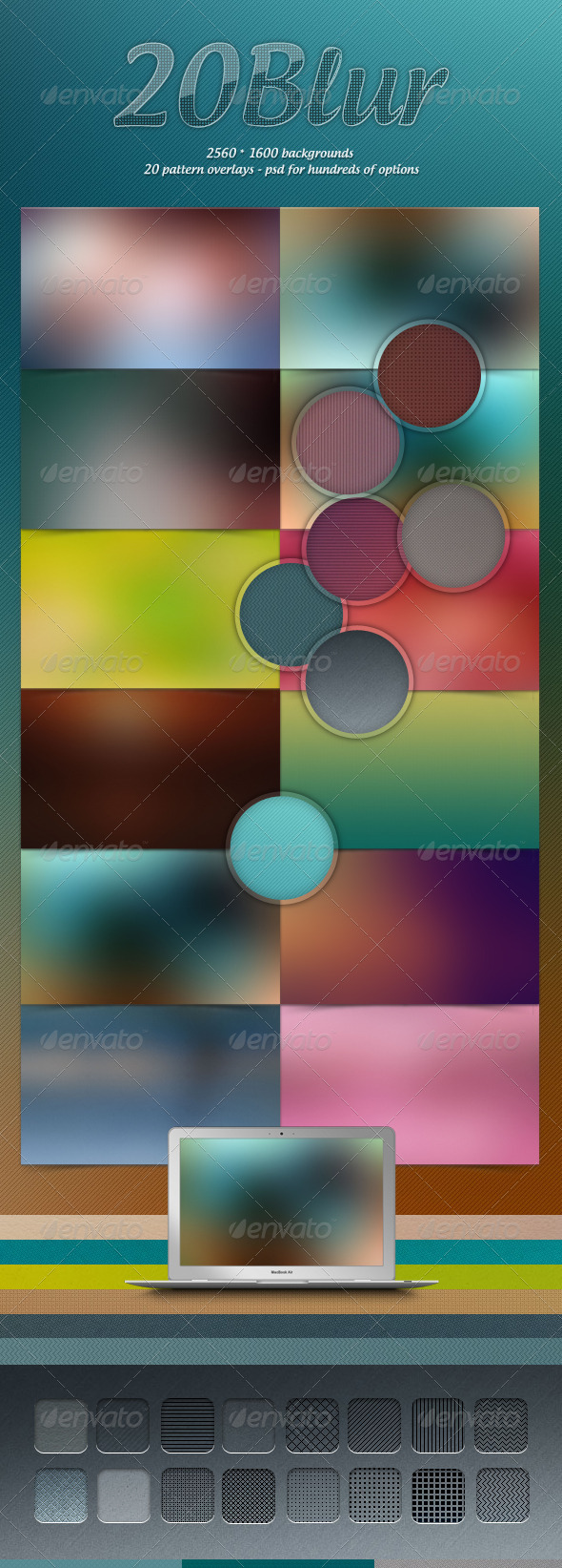 GraphicRiver 20 Blur Backgrounds & Pattern Overlays 3080778