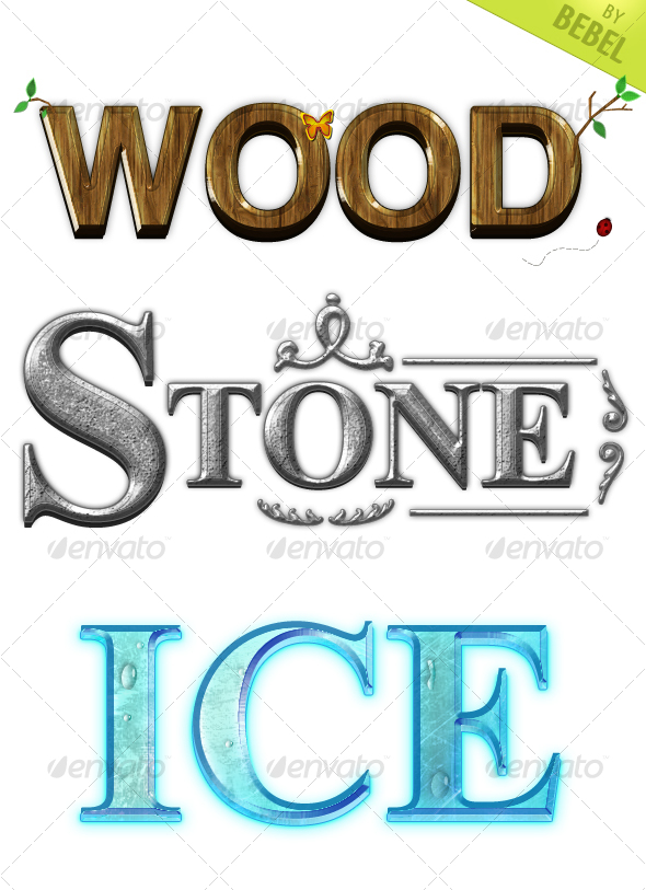 GraphicRiver 3 Print and Web Ready Wood Ice Stone Text Styles 108165