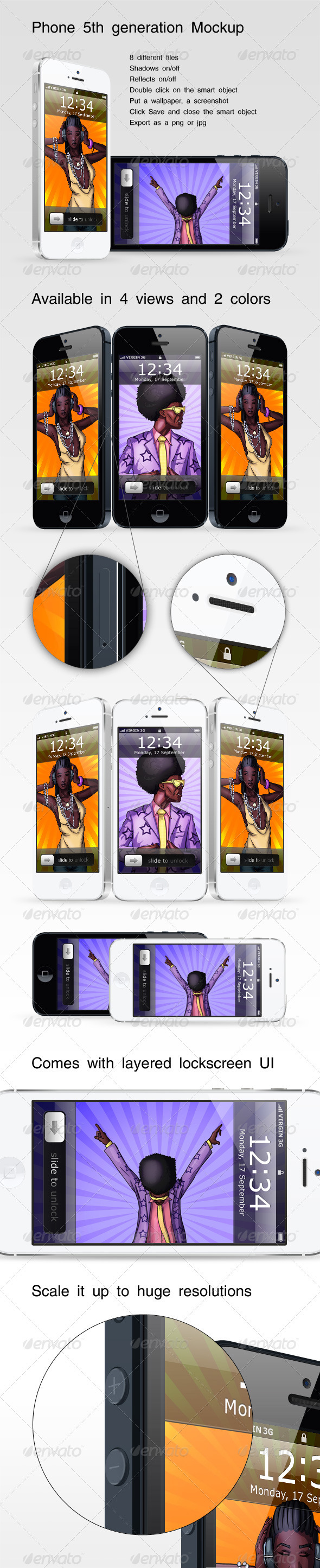 GraphicRiver Phone 5th Generation Mockup 3020943