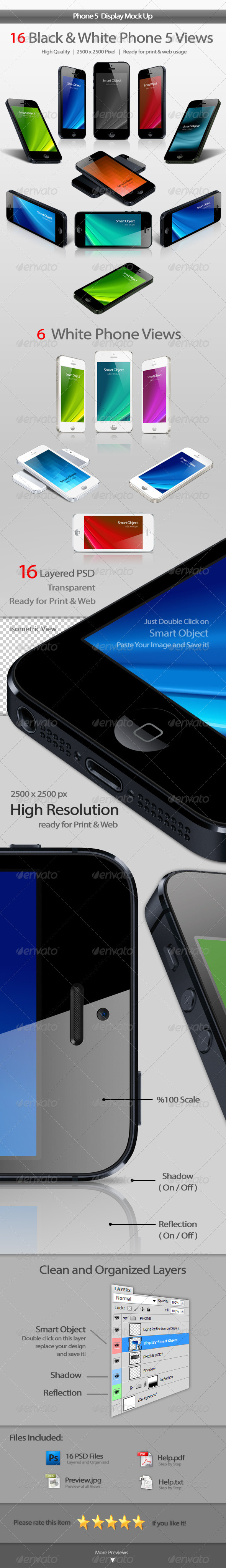 GraphicRiver Phone 5 Display Mockup 3051212