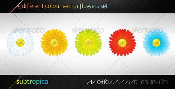 GraphicRiver 5 Vector Flowers Set 109717