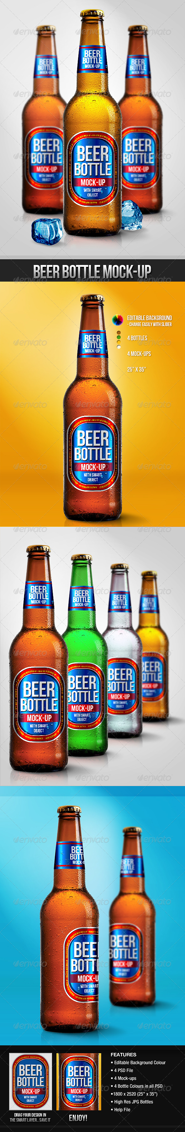 GraphicRiver Beer Bottle Mock-Ups 3099590
