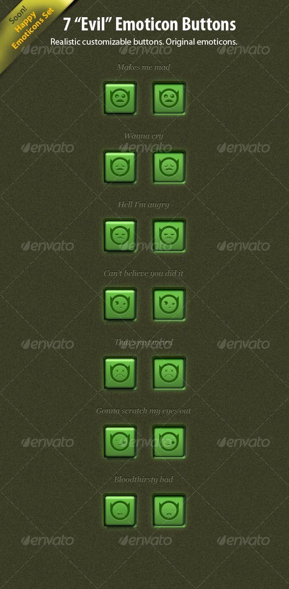 GraphicRiver 7 Evil Emoticon Buttons 109866