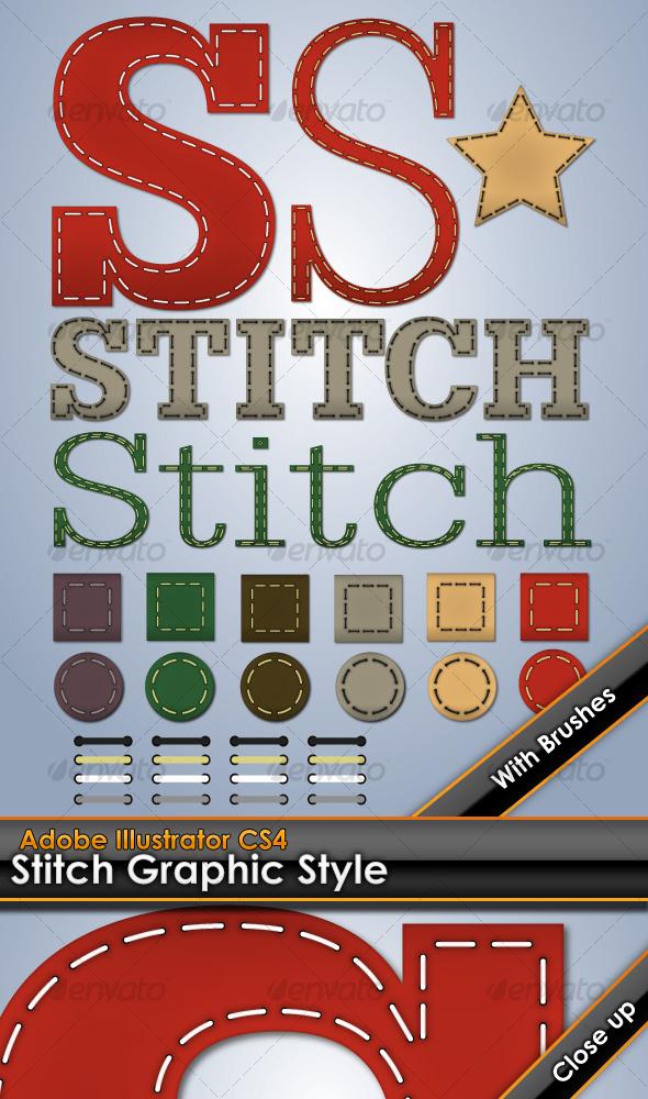 GraphicRiver Stitching Illustrator Graphic Style 109982