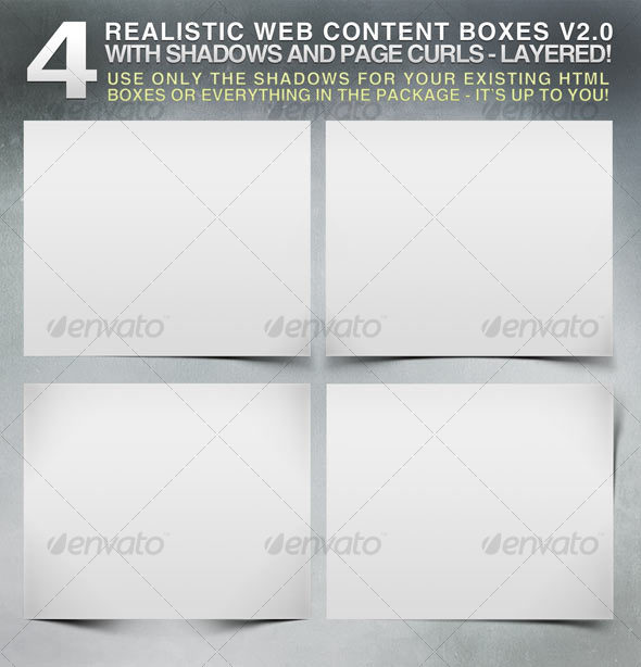 GraphicRiver 4 Realistic Web Content Boxes Shadows & Pagecurls 110001