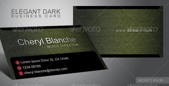 GraphicRiver Elegant Dark Business Card #2 110031
