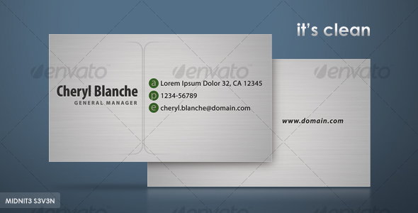 GraphicRiver Clean Gray Business Card 110257