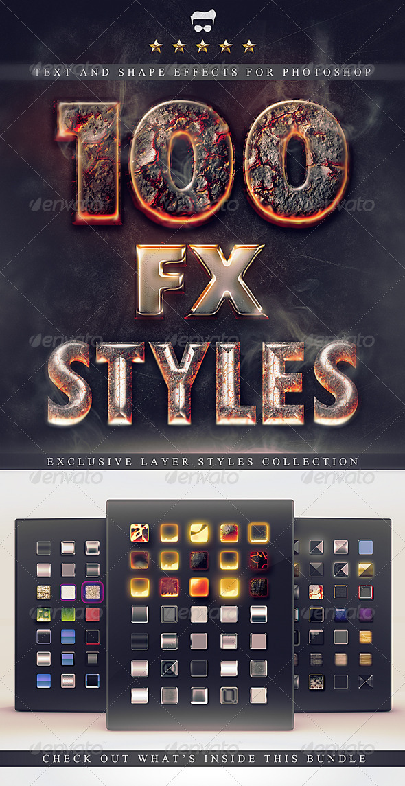 GraphicRiver 100 Layer Styles Bundle Text Effects Set 3116716