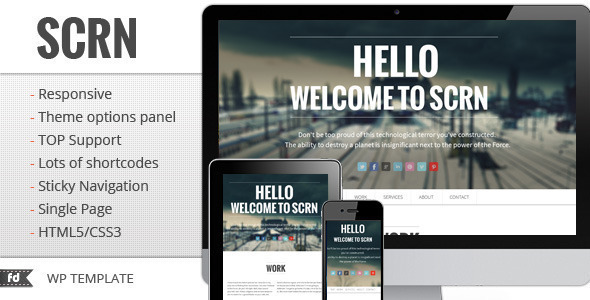 WordPress – SCRN – Responsive single page portfolio | ThemeForest