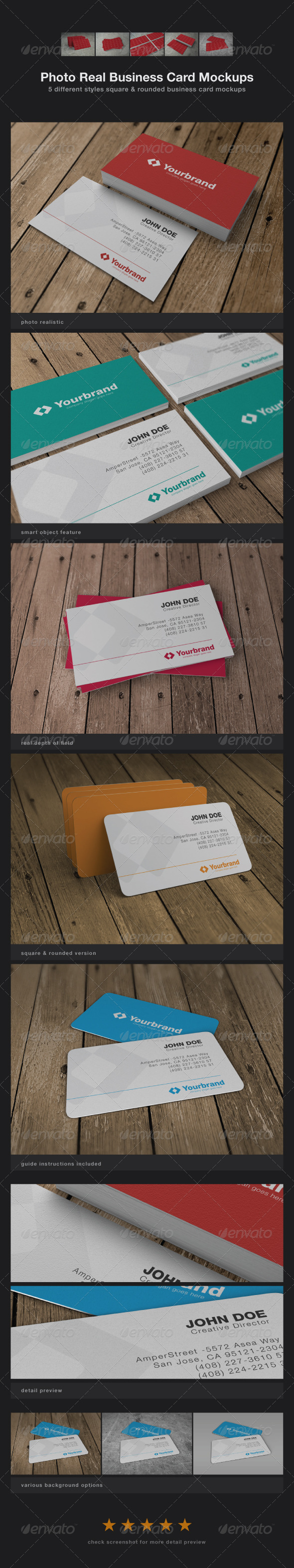 GraphicRiver Photo Real Business Card Mockups 3130057