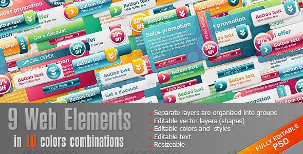 GraphicRiver Bright Web Elements 108033