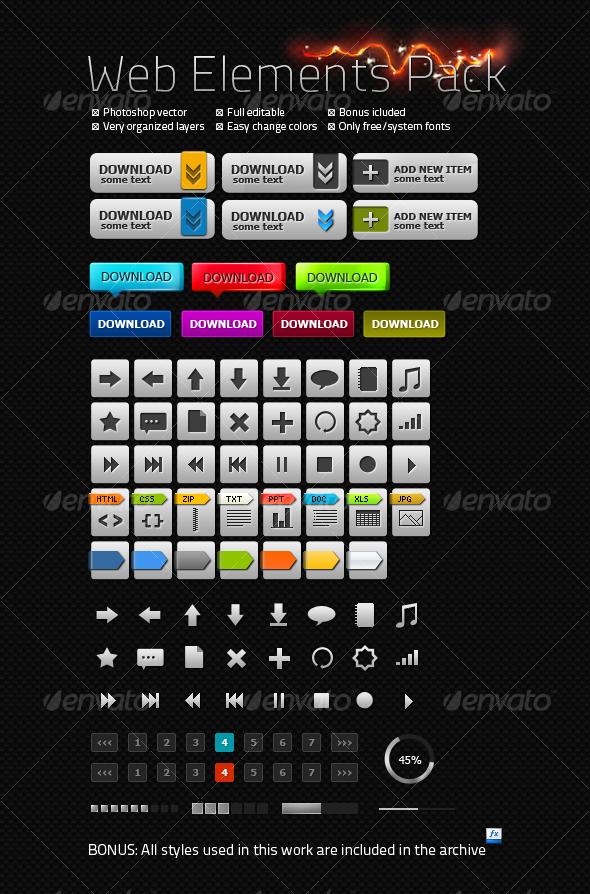 GraphicRiver Carbon Web Elements Pack 110098