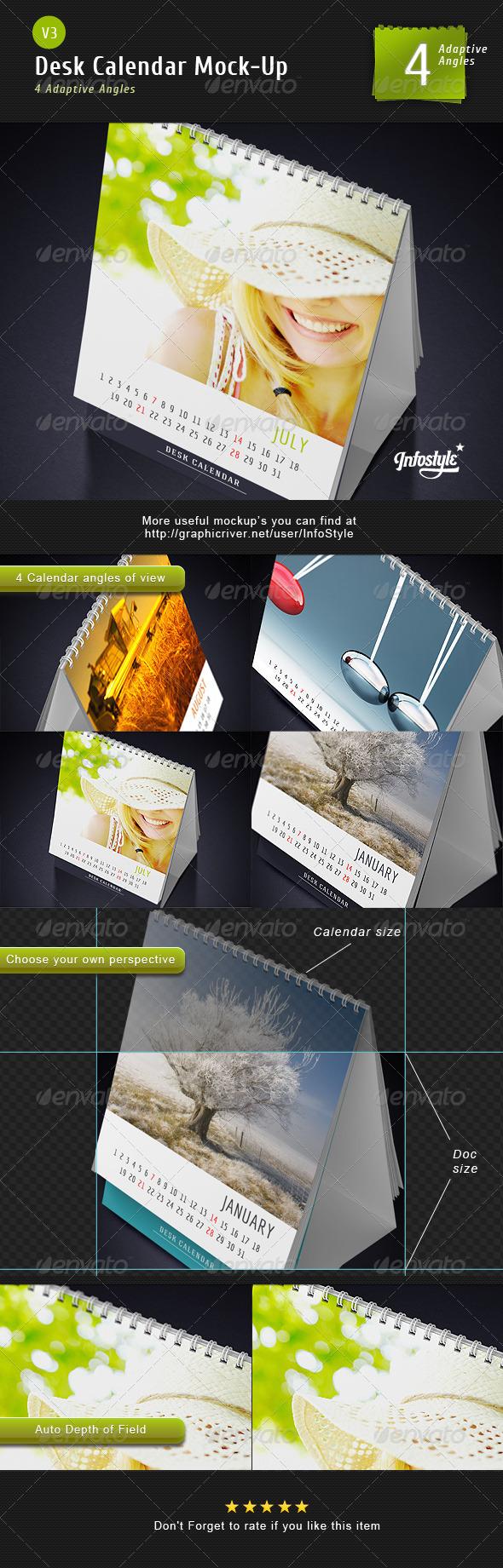 GraphicRiver Desk Calendar Mock-Up V3 3139439