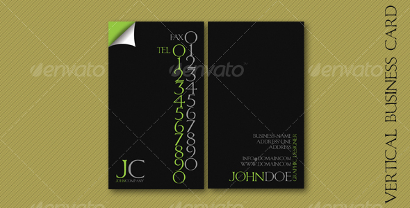 GraphicRiver Vertical Business Card 110014