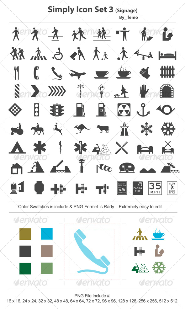 GraphicRiver Simply Icon Set 3 Signage 111456