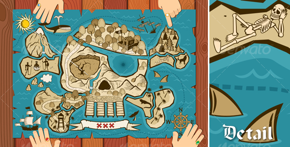 GraphicRiver Treasure Map on Desk 111484