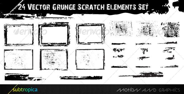 GraphicRiver 24 Vector Grunge Scratch Elements Set 111434