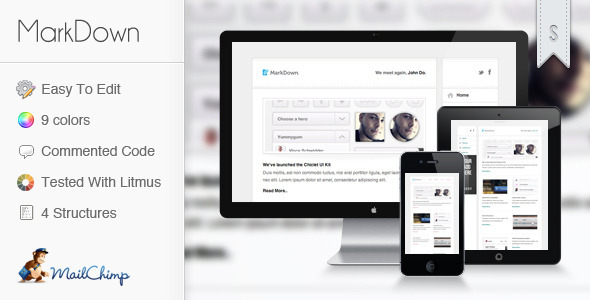 ThemeForest MarkDown Clean and Minimalistic Newsletter Marketing Email Templates 3160459