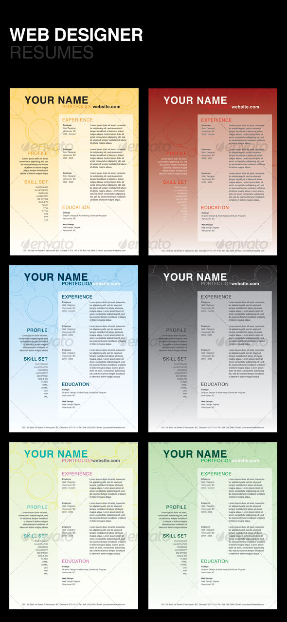 GraphicRiver Web Designer Resumes 111705