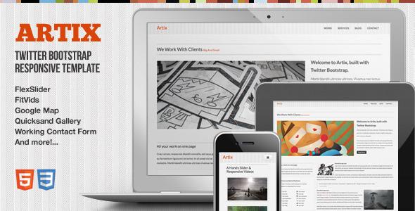 ThemeForest Artix One Page Responsive Bootstrap Template Site Templates Creative Portfolio 3152958