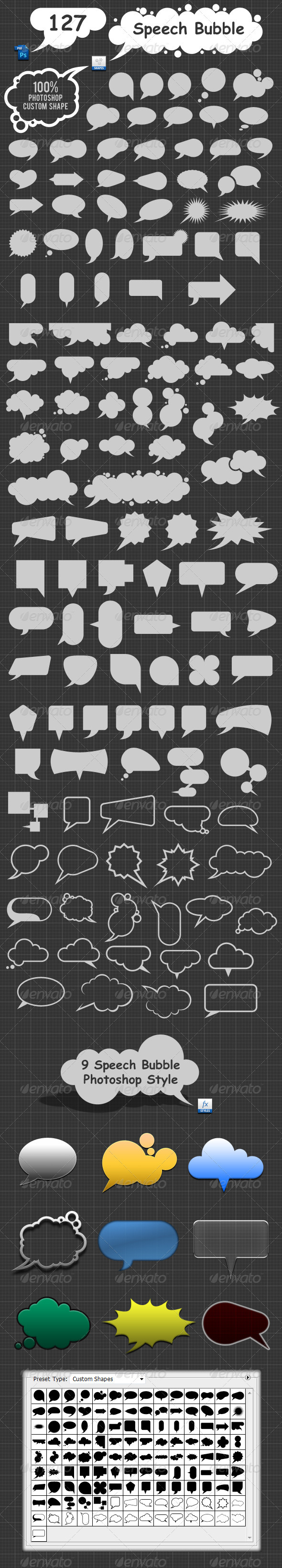 GraphicRiver 127 Speech Bubble Photoshop Custom Shapes 3167570