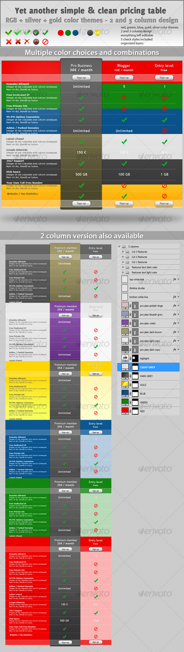 GraphicRiver Simple Pricing Table With 2 and 3 Columns Design 110067