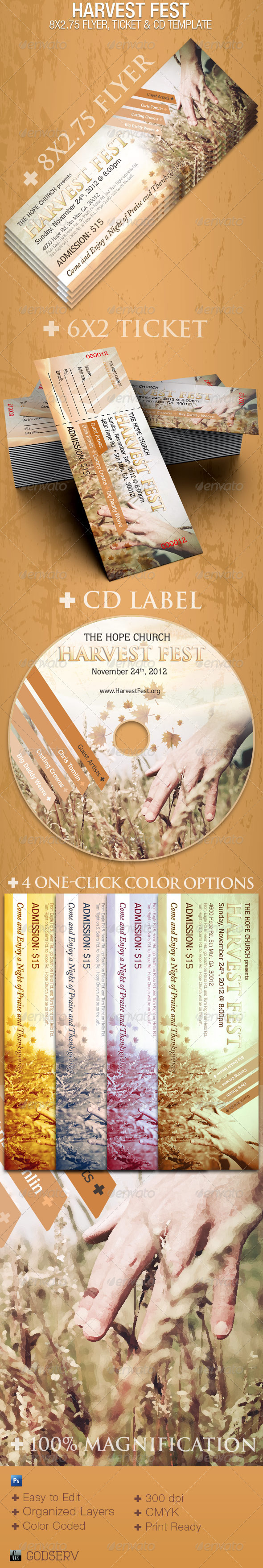 Graphic River Harvest Fest Photoshop 8x2.75 Flyer Template Print Templates -  Flyers  Church 758153
