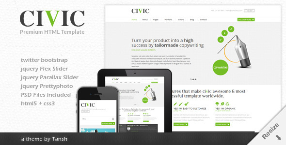 ThemeForest Civic Responsive Business Template Site Templates Corporate Business 3159673