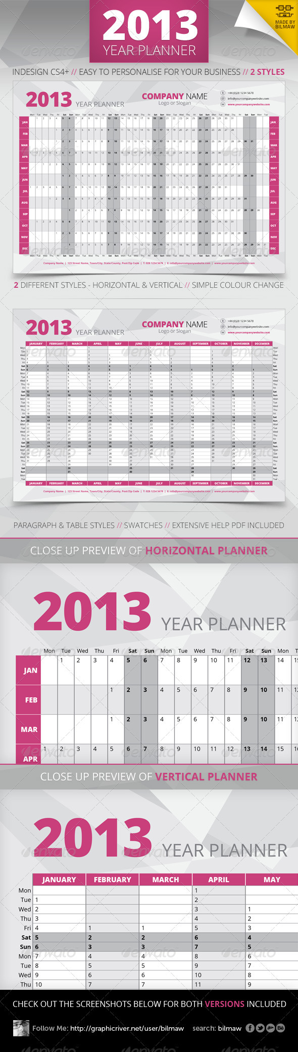GraphicRiver 2013 Year Wall Planner 3176349