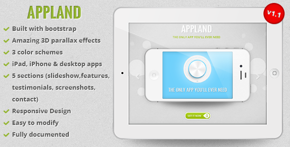 ThemeForest AppLand Responsive Bootstrap Parallax App Landing Page Marketing Landing Pages Technology Apps 3109123