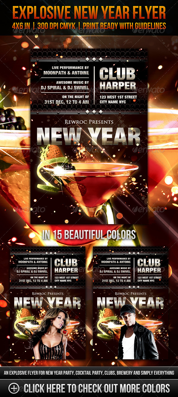 Graphic River Explosive New Year Flyer Print Templates -  Flyers  Events  Clubs & Parties 1014317