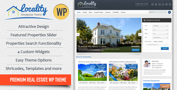 ThemeForest Locality Real Estate WordPress Theme WordPress Corporate Business 2203240