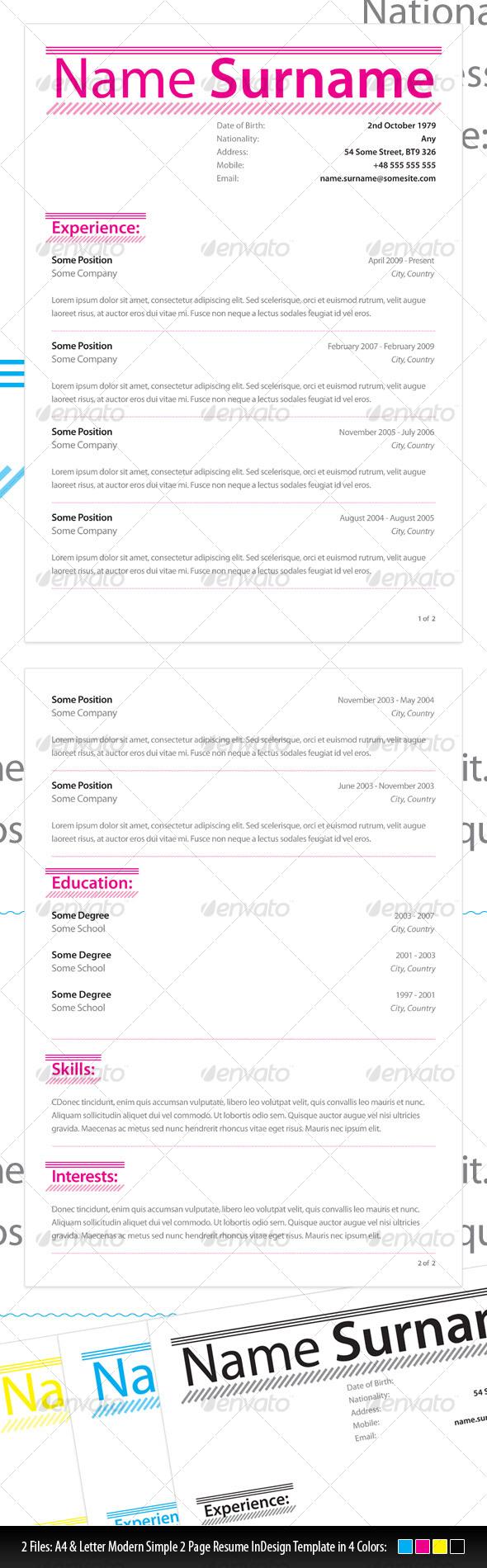 GraphicRiver Modern Simple Resume 111844