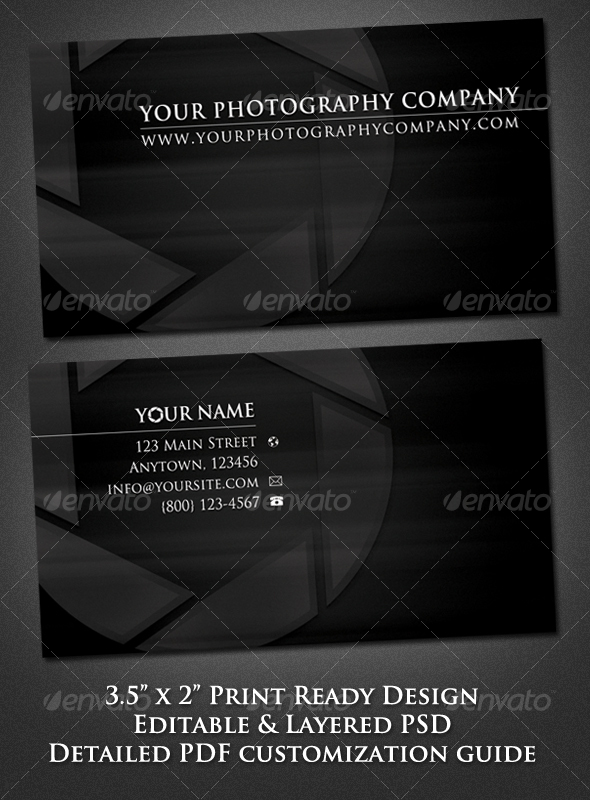 GraphicRiver Sleek Minimal Photographer Business Card 112525
