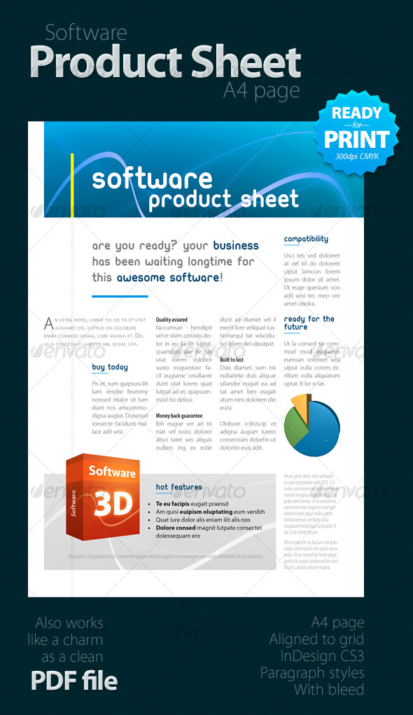 Print template graphicriver software product sheet a4 for Html product page template free
