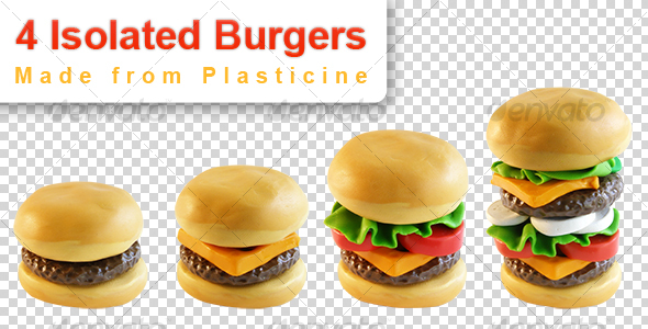 GraphicRiver 4 Burgers isolated plasticine objects 112291