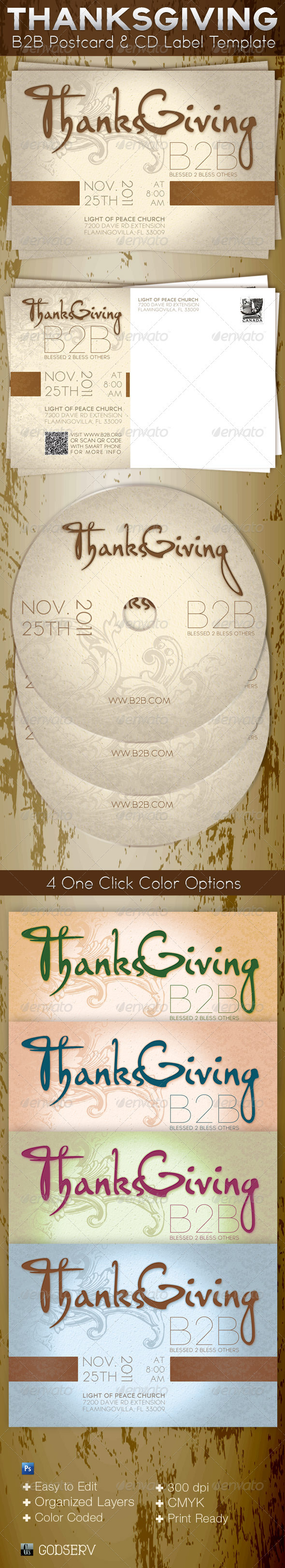 GraphicRiver Thanksgiving B2B Postcard and CD Label Template 840603