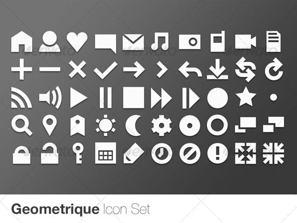 GraphicRiver Geometrique Icon Set 50 Vector Icons 111647