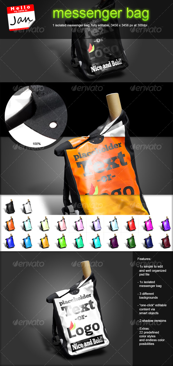 GraphicRiver messenger bag with editable text canvas 113400