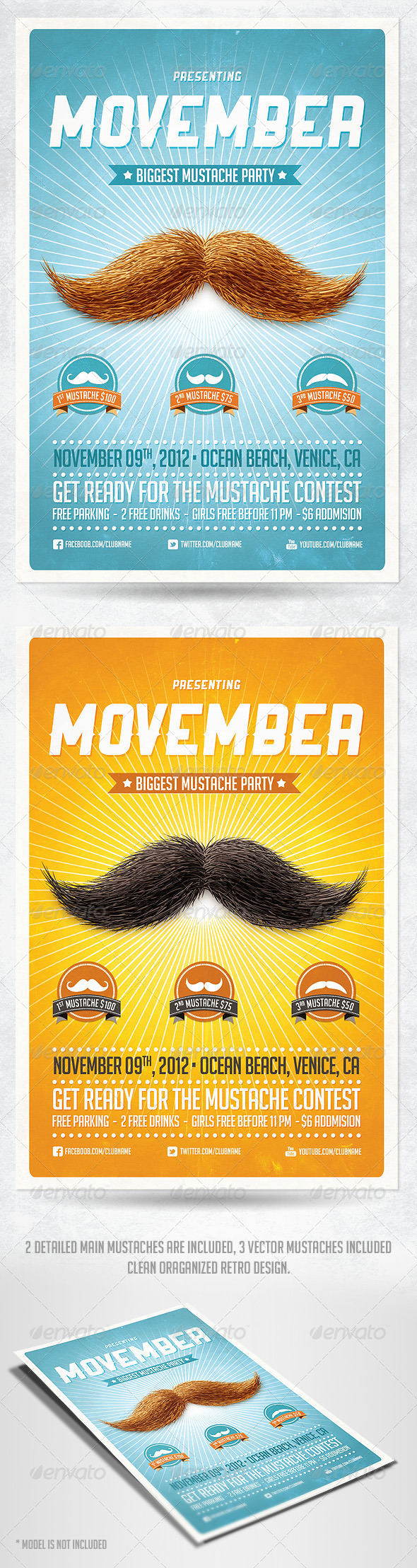 GraphicRiver Movember Retro Party Flyer Template 3226406