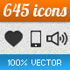 645 Vector Icons - GraphicRiver Item for Sale