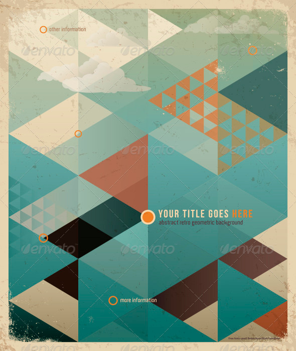GraphicRiver Abstract Retro Geometric Background with clouds 3228046